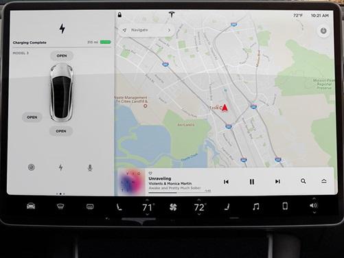 Tesla Model 3 dotyková obrazovka