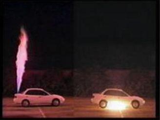 Test úniku a vznícení vodíku zvozidla